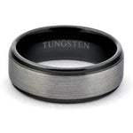 ATOR Gun-Metal Tungsten Wedding Band Brushed Center Shiny Black Steps - Gaboni Jewelers