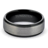 ATOR Gun-Metal Tungsten Wedding Band Brushed Center Shiny Black Steps