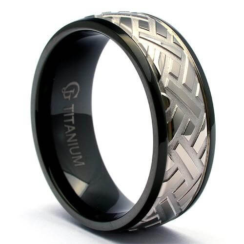 APPRI Black Titanium Tire Tread Ring 2nd - Gaboni Jewelers