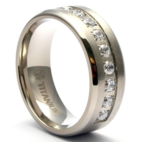 ZIBI Men's Simulated Diamond Titanium Wedding Band - Gaboni Jewelers