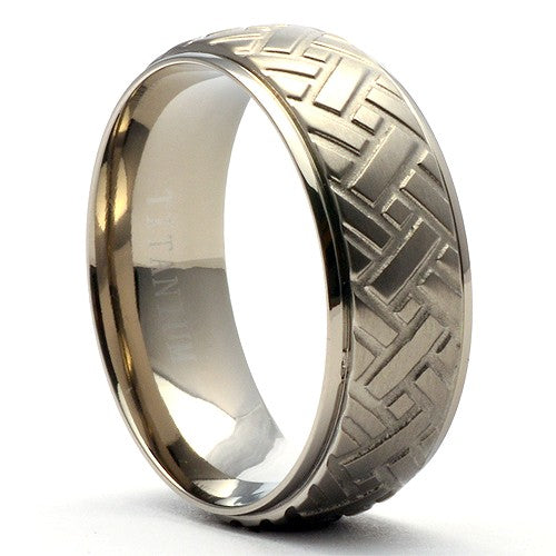 LEON Titanium Car Tire Tread Wedding Band 2nd - Gaboni Jewelers