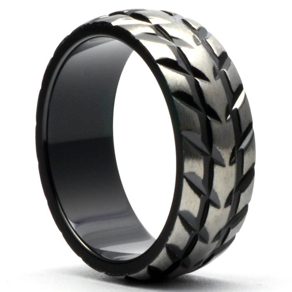 APRILOMAT Men's Wedding Ring Superbike Tire Tread - Gaboni Jewelers