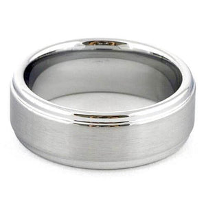 ARES Brushed White Tungsten Wedding Band Polished Step Edges - Gaboni Jewelers