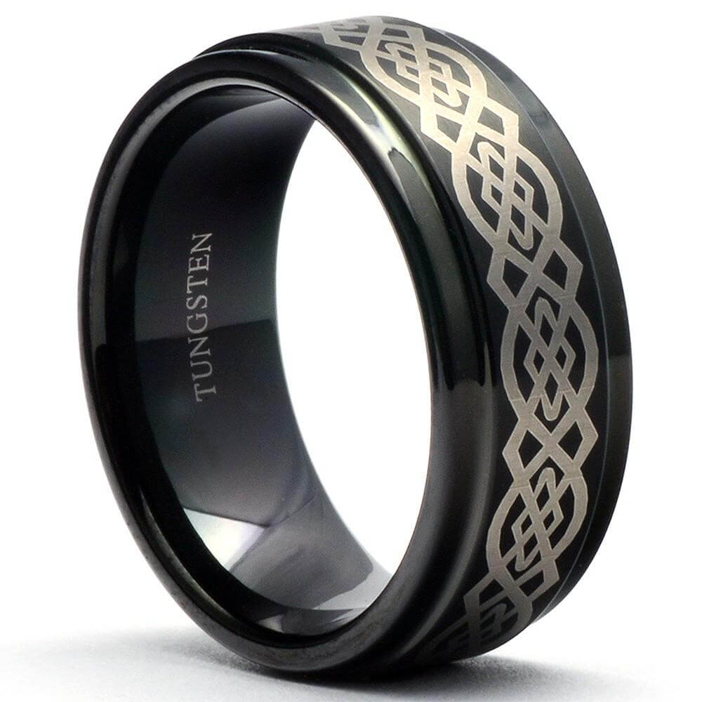 BARRO Black Knot Tungsten Ring Step Edges - Gaboni Jewelers