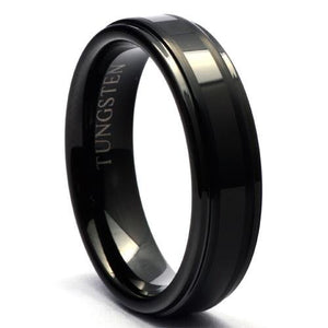 BLACER 6mm Black Wedding Band in Tungsten with Steps - Gaboni Jewelers