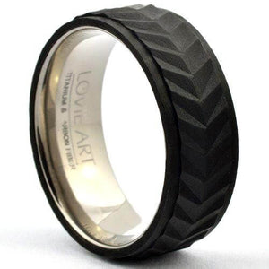 BORET Fashion Men's Wedding Band Step Edges Forged Carbon Ring - Gaboni Jewelers