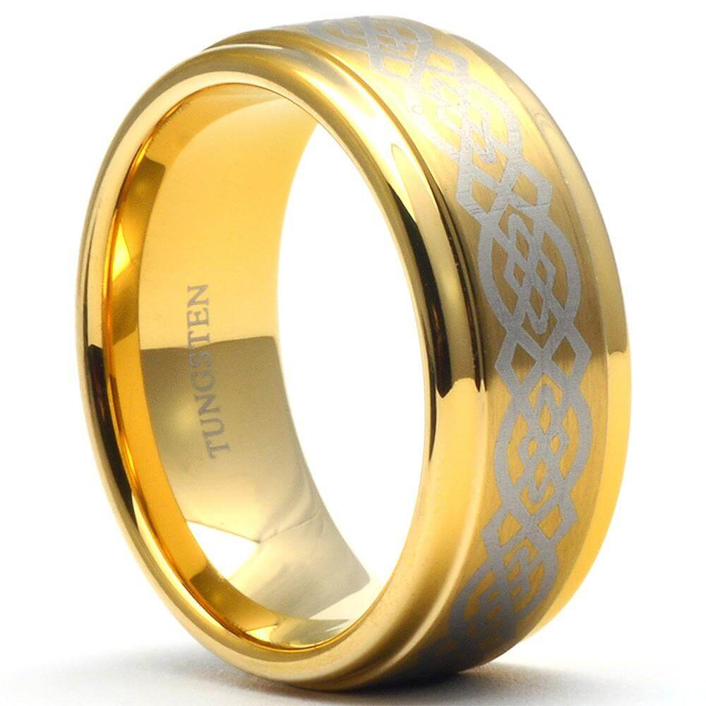 CARER Gold Knot Tungsten Wedding Ring Step Edges - Gaboni Jewelers