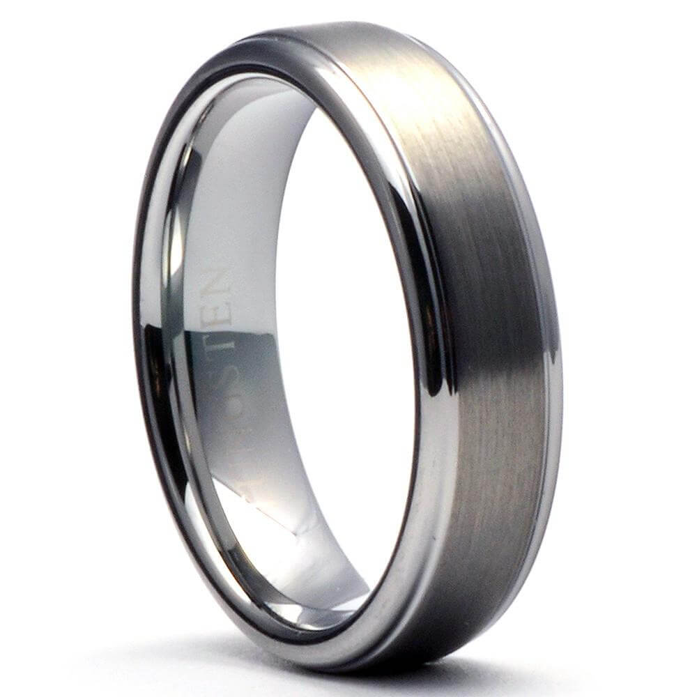 CARRER Brushed Tungsten Wedding Band with Step Edges - Gaboni Jewelers