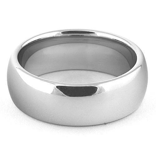 DARET 8mm White Tungsten Classic Wedding Band - Gaboni Jewelers