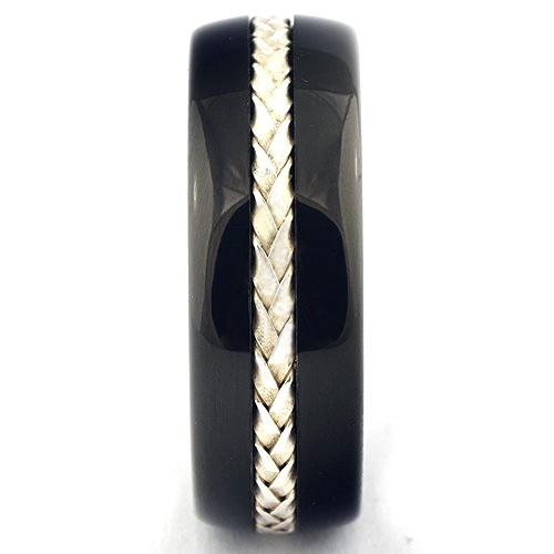 DETOR Braided Tungsten Wedding Band Silver Inlay Black Ring - Gaboni Jewelers