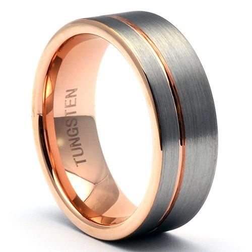 ETOS Tungsten Ring Offset Rose-Gold Stripe - Gaboni Jewelers