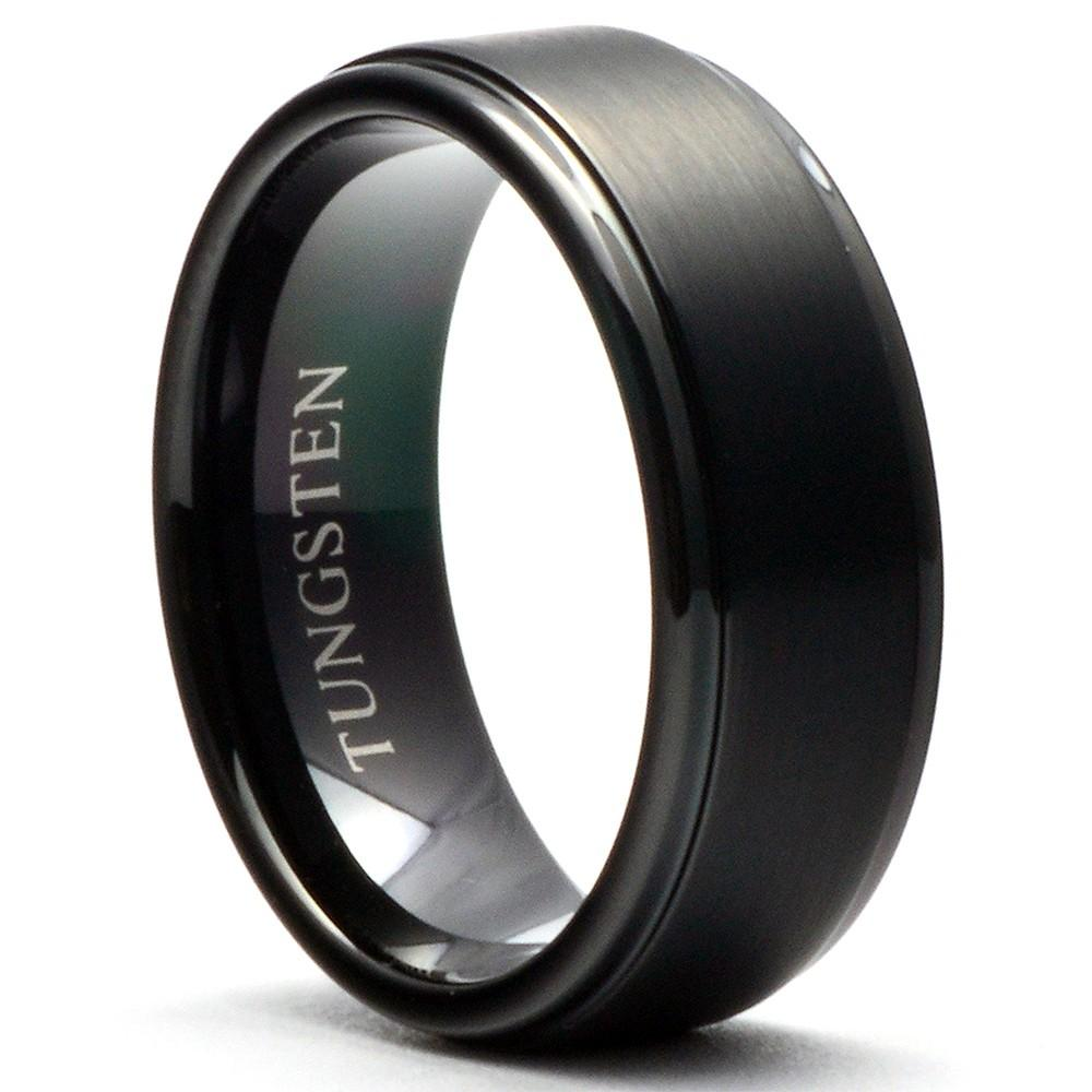 ETOT Black Men's Tungsten Wedding Ring Brushed Top Shiny Steps - Gaboni Jewelers