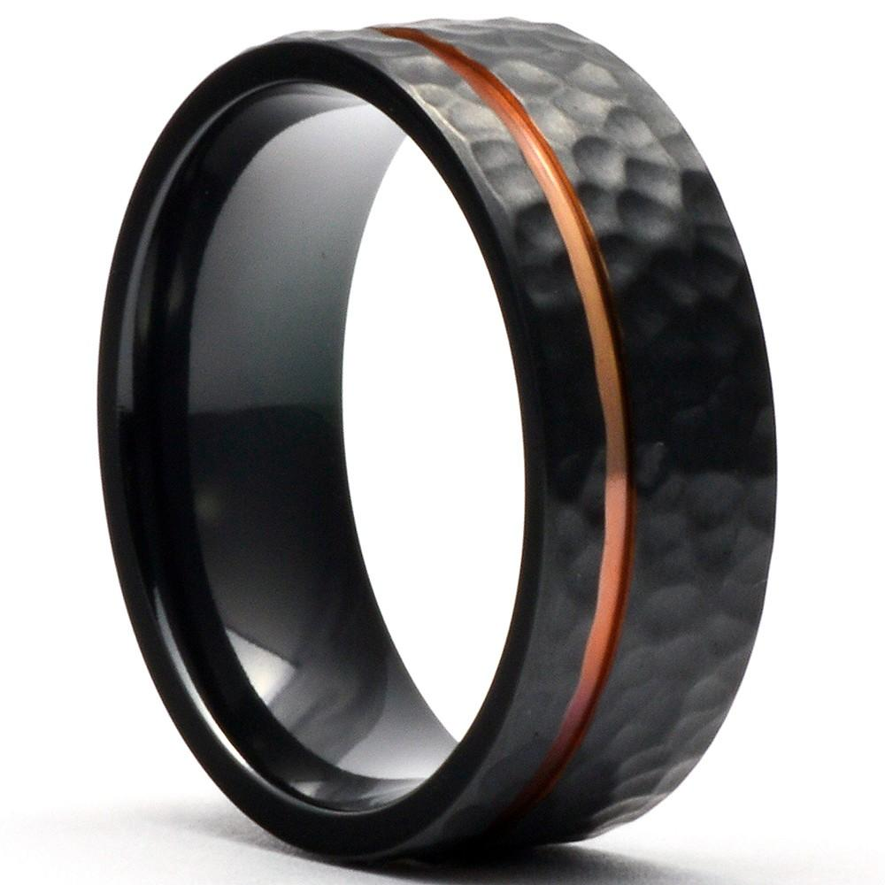 FAGART Black Zirconium Hammered Wedding Ring Offset Rose Gold Stripe - Gaboni Jewelers