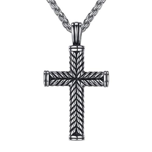 "Fashion Men's Stainless Steel Cross Pendant & 24"" Link Chain - Gaboni Jewelers"
