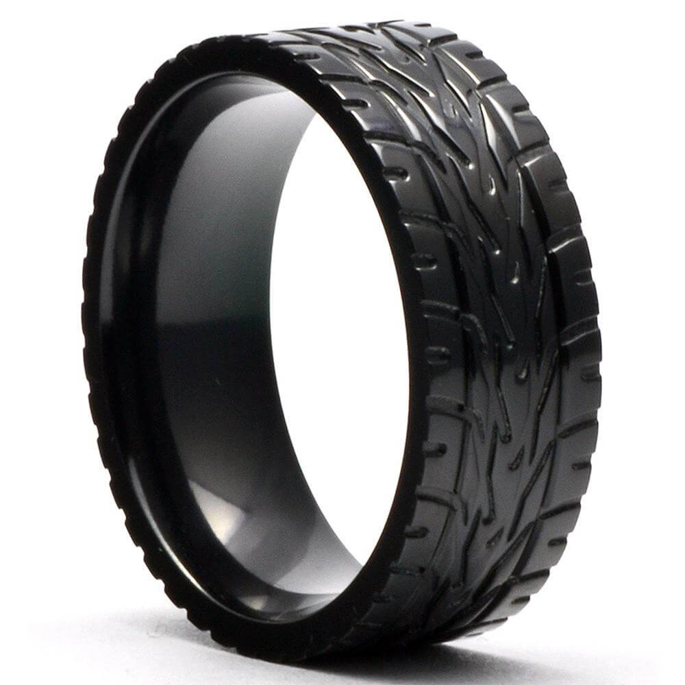 FERRA Men's Wedding Ring Black Zirconium Supercar Tire Tread - Gaboni Jewelers