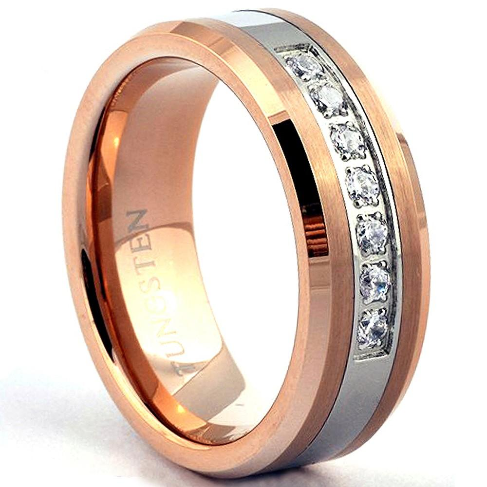 GAMA Rose-Gold Tungsten Wedding Band for Men or Women 7 Stones - Gaboni Jewelers