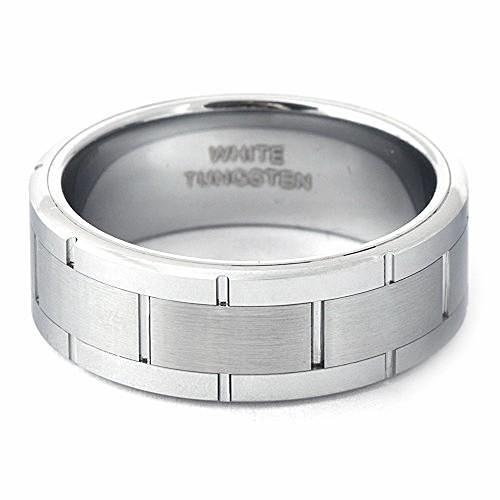 GATTO Men's White Tungsten Wedding Band Brick & Brushed Finish - Gaboni Jewelers