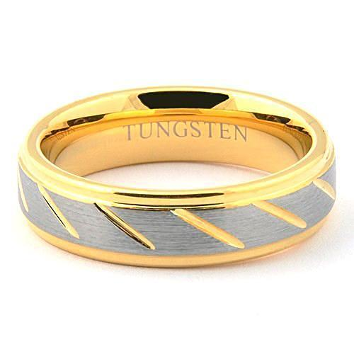 GOLDEX 6mm Tungsten Wedding Ring Brushed Channels Gold Color - Gaboni Jewelers