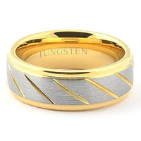GOLDEX Brushed Gold Tungsten Wedding Ring with Channels - Gaboni Jewelers