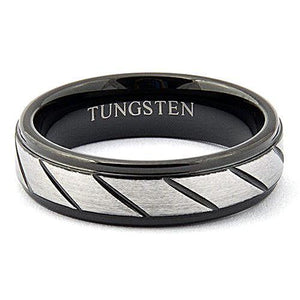 HADES 6mm Black Tungsten Wedding Ring Grooved Step Edges Matte - Gaboni Jewelers