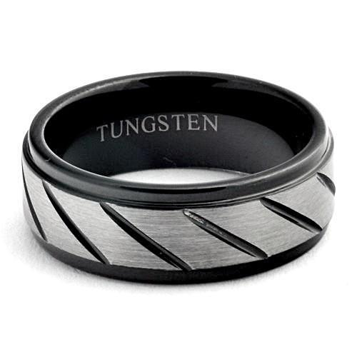 HADES Black Tungsten Ring Brushed Diagonal-Grooves Step Edges - Gaboni Jewelers