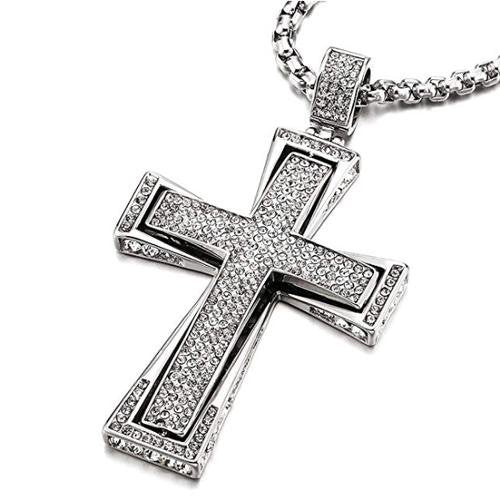 "Hip Hop Men's Stainless Steel Cross Pendant Iced Cubic Zirconia 30"" Chain - Gaboni Jewelers"