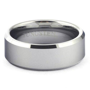 ICER Shiny Tungsten Wedding Band Polished Beveled - Gaboni Jewelers