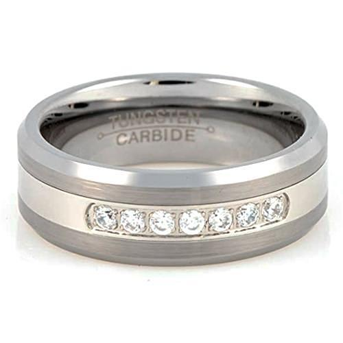 JANX Tungsten Carbide Wedding Band for Men or Women CZ Ring - Gaboni Jewelers