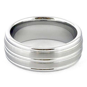 JAXEN Brushed White Tungsten Wedding Ring Striped - Gaboni Jewelers