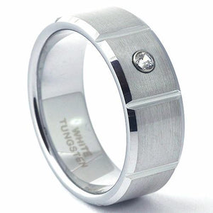 KENCO Brushed Handsome Men's Tungsten Ring Beveled Edges & Grooved - Gaboni Jewelers