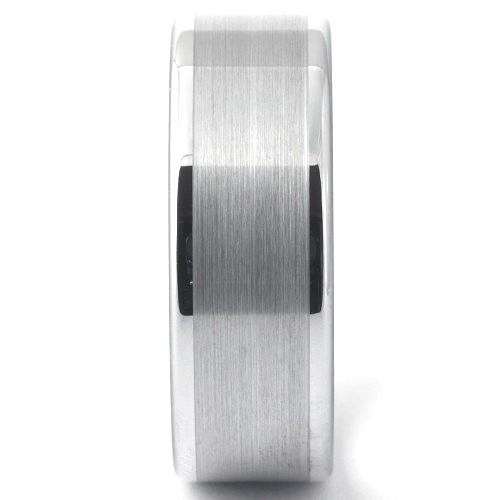 KOLLAN Flat White Tungsten Ring Brushed Band - Gaboni Jewelers