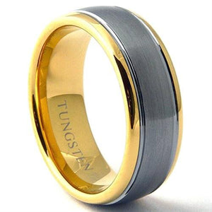 KROMIC Tungsten Carbide Wedding Band Brushed Center Ring Gold Tone - Gaboni Jewelers