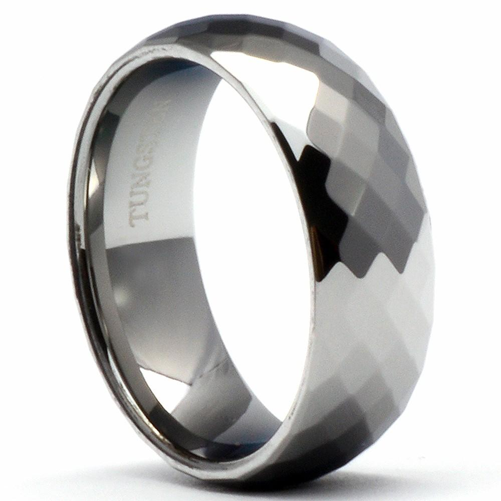 LAGAT Multi-Faceted Tungsten Wedding Band Polished Shiny Ring - Gaboni Jewelers