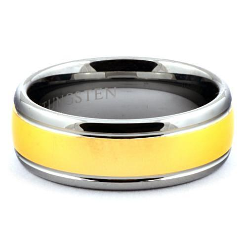 LAVIN Round Tungsten Carbide Wedding Band Gold Center Ring - Gaboni Jewelers