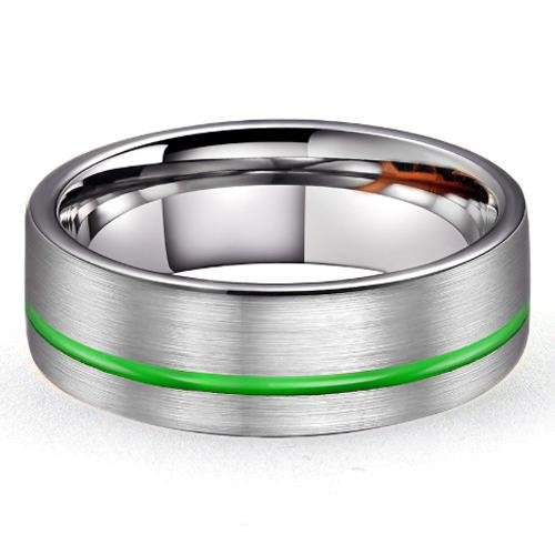 LEO Brushed Tungsten Carbide Ring with Green Offset Channel - Gaboni Jewelers