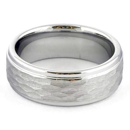 MACAT Hammered Ring White Tungsten Wedding Band with Step Edges - Gaboni Jewelers