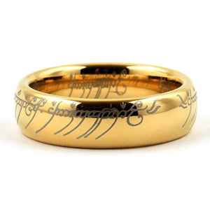 MAG Gold Tungsten Lord Of The Rings Elvish LOTR Wedding Band - Gaboni Jewelers