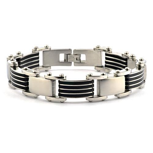 "Men's 17mm Rubber and Stainless Steel Bracelet - 8.5"" - Gaboni Jewelers"