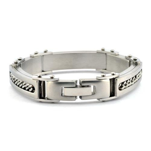 "Men's Bracelet Stainless Steel with Cable Insert - 8.5"" - Gaboni Jewelers"