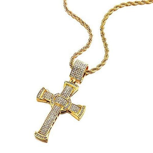 "Men's Cross Pendant in Stainless Steel Iced Cubic Zirconia Necklace 30"" Chain - Gaboni Jewelers"