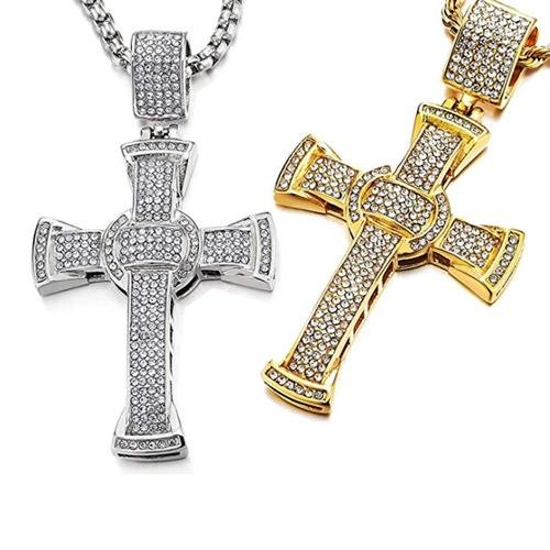 Men's Cross Pendant in Stainless Steel Iced Cubic Zirconia Necklace 30