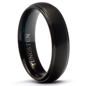 MIDA 6mm Round Wedding Band Black Tungsten Ring Brushed - Gaboni Jewelers