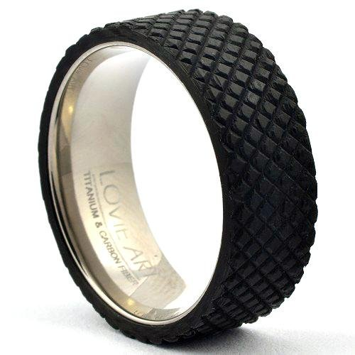 MITOG Forged Carbon Ring Squared Design - Gaboni Jewelers