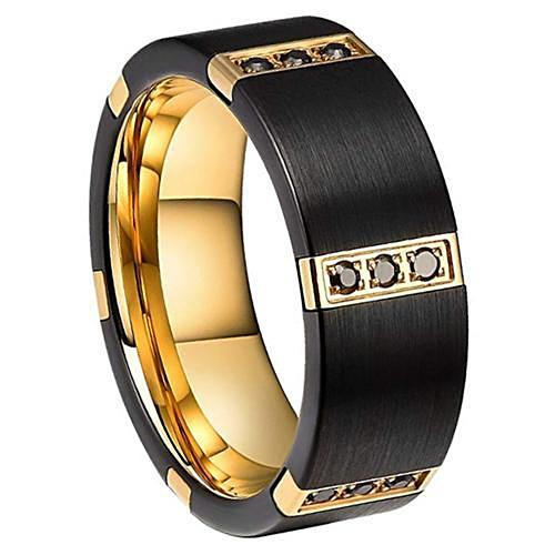NOXAN Brushed Black Men's Tungsten Wedding Band Flat - Gaboni Jewelers