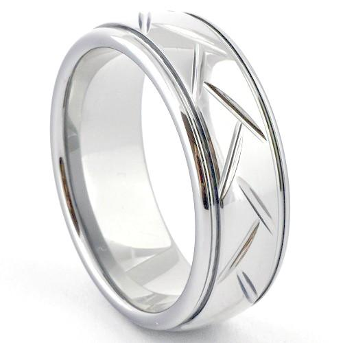 PERAS White Tungsten Carbide Ring Woven Pattern - Gaboni Jewelers