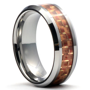 PIKO Tungsten Carbide Ring Pink Carbon-Fiber Inlay - Gaboni Jewelers