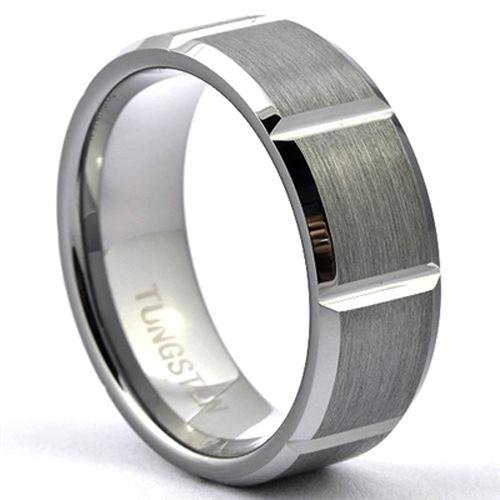 ROTEG Mens Tungsten Ring Brushed Wedding Band Shiny 90 Degrees Grooves - Gaboni Jewelers