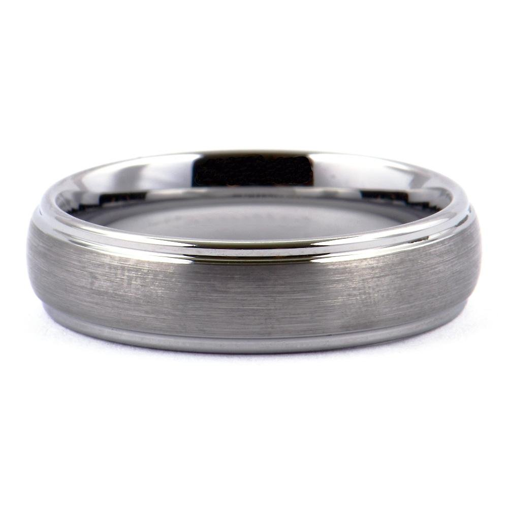 SOLET Dome Tungsten Wedding Band Ring Matt Top Polished Shiny Steps - Gaboni Jewelers