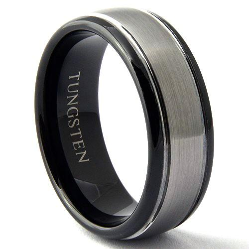 SOROS 8mm Tungsten Wedding Ring Brushed Center Black Tone - Gaboni Jewelers