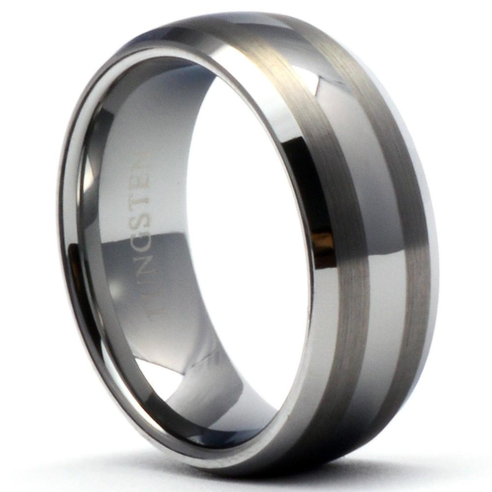 THOR Tungsten Ring Men's Wedding Band Brushed Stripes Shiny Bevels - Gaboni Jewelers